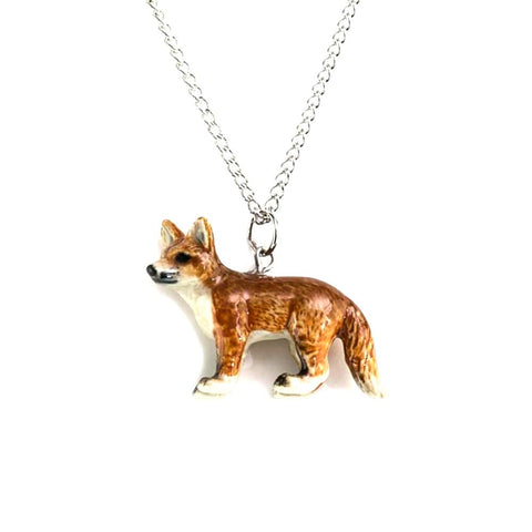 Red Fox Standing Pendant - Porcelain Animal Figurines - Little Critterz Jewelry