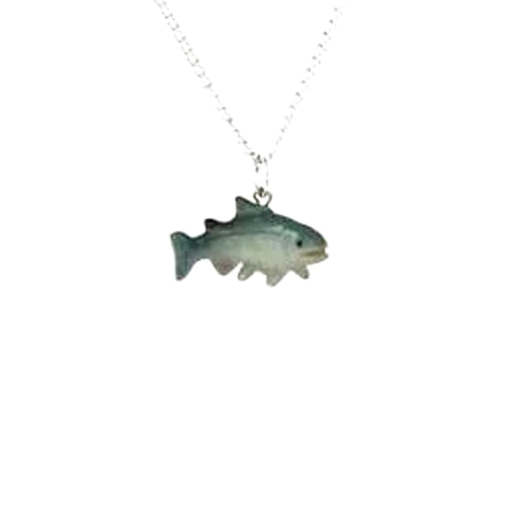 Salmon Pendant - Porcelain Animal FIgurines - Little Critterz Jewelry, Little Critterz