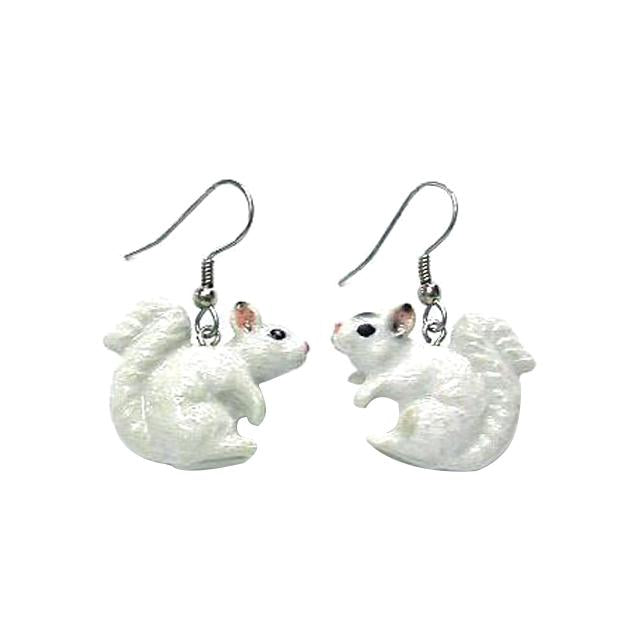 White Squirrel Porcelain Earrings