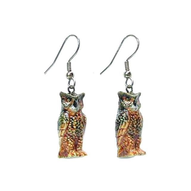 Horned Owl Porcelain Earrings