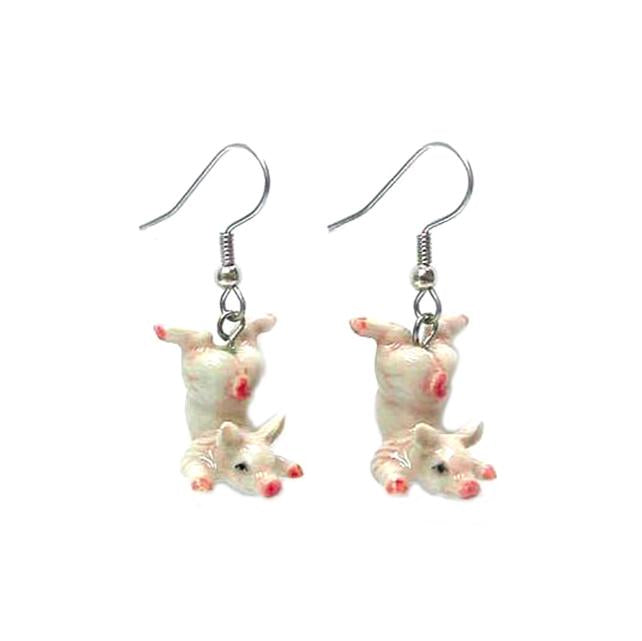 Pink Pig Porcelain Earrings