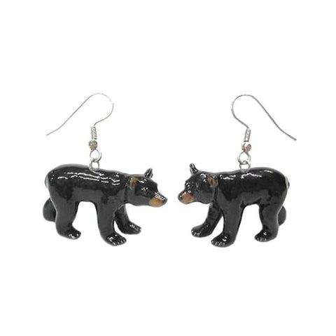 Bear - Black Bear Porcelain Porcelain Earrings