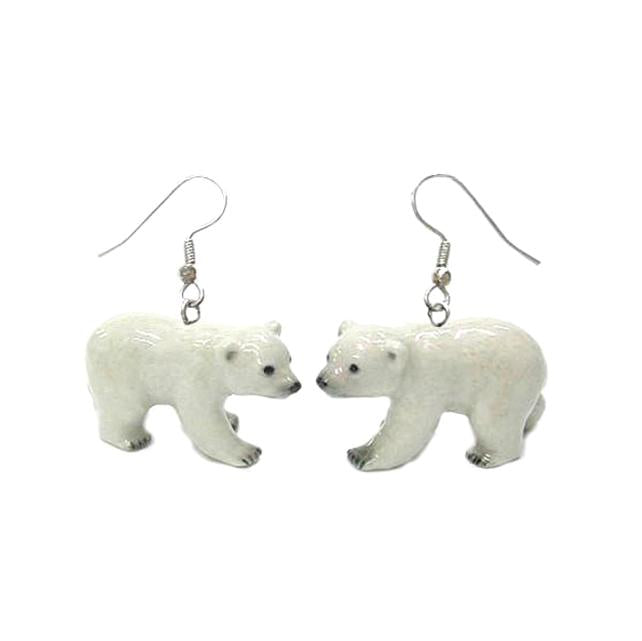 Polar Bear Porcelain Earrings
