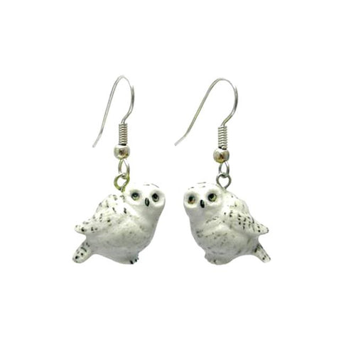 Snowy Owl Porcelain Earrings