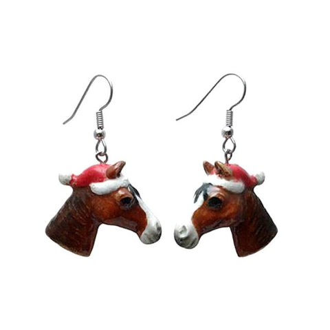EXCLUSIVE-Horse Head Santa Porcelain Earrings