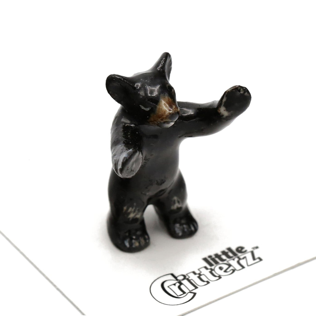 "Bear - Black Bear Cub Bear Figurine ""Little John"" - Porcelain Animal FIgurines - Little Critterz, Little Critterz"