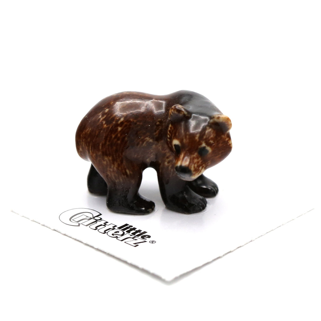 "Bear - Grizzly Bear Cub ""Yukon"" - miniature porcelain figurine"