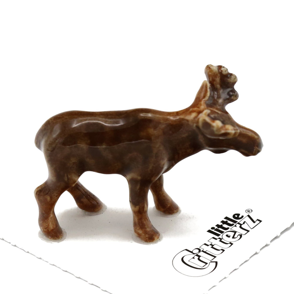 "Young Moose Porcelain Miniature - ""Nomad"" - Porcelain Animal FIgurines - Little Critterz, Little Critterz"