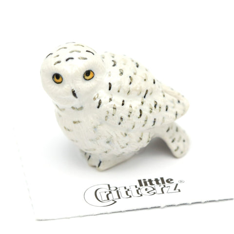 "Snowy Owl Collectible -""Ghost"" - Porcelain Animal FIgurines - Little Critterz, Little Critterz"