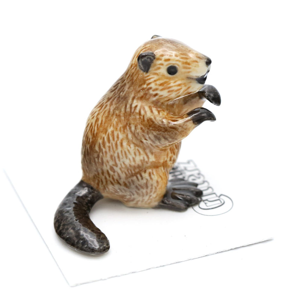 "Beaver Figurine ""Paddle"" - Porcelain Animal FIgurines - Little Critterz, Little Critterz"