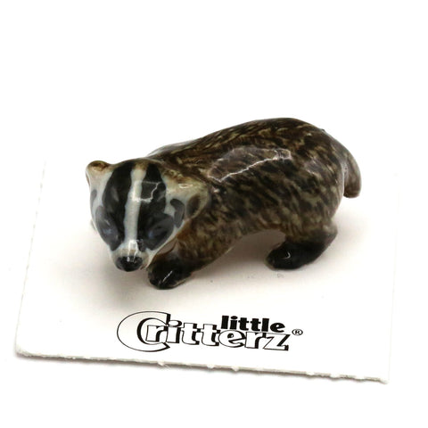 "Badger - American Badger ""Nocturnal"" - miniature porcelain figurine"