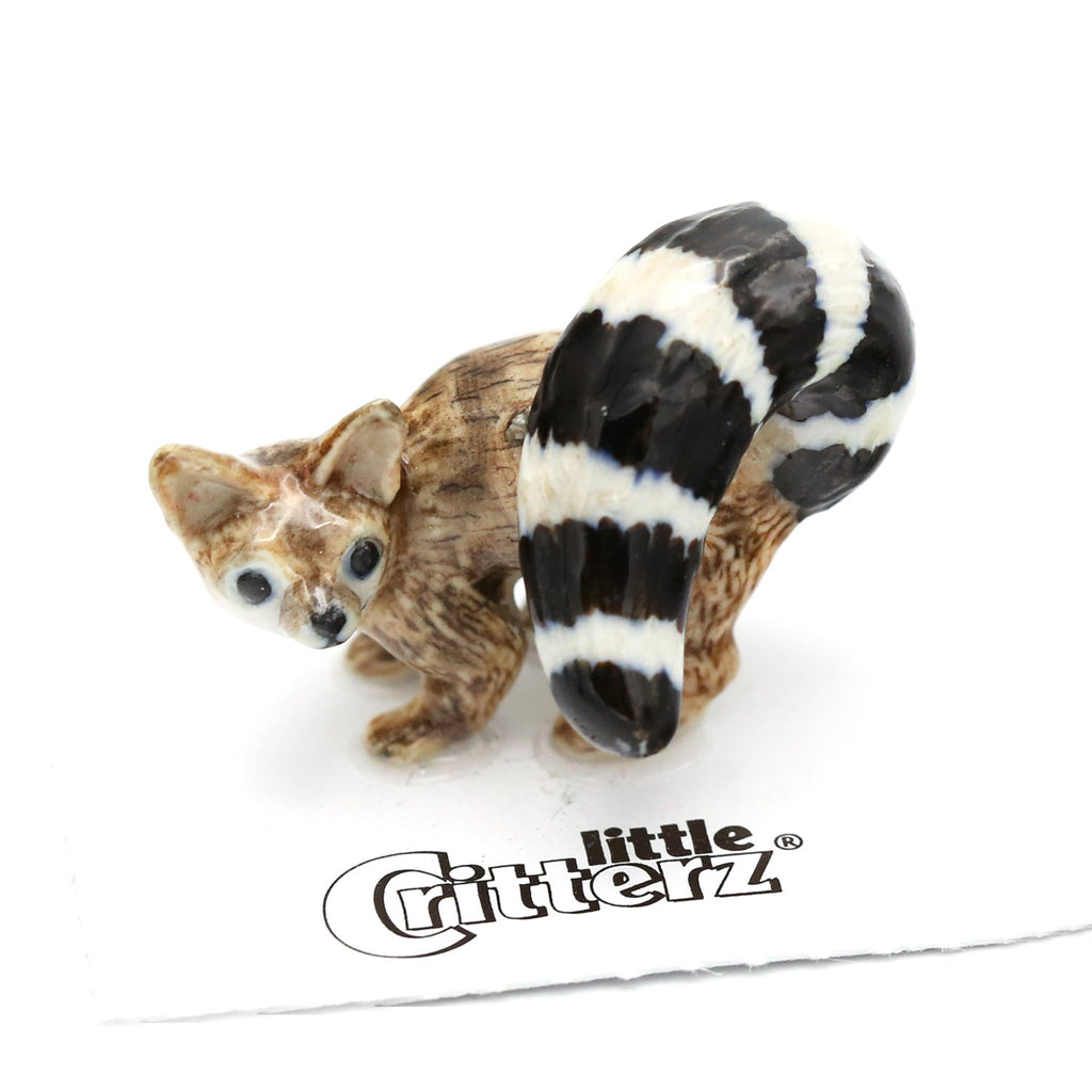 "Ringtail Cat Miniature - ""Miner"" - Porcelain Animal FIgurines - Little Critterz, Little Critterz"