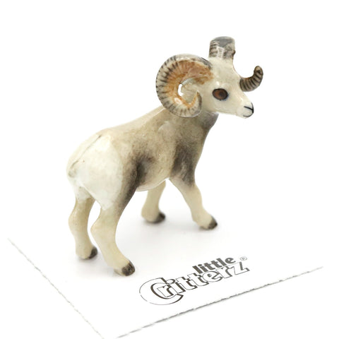 "Sheep Figurine - Bighorn Sheep ""Clash"" - Porcelain Animal FIgurines - Little Critterz, Little Critterz"