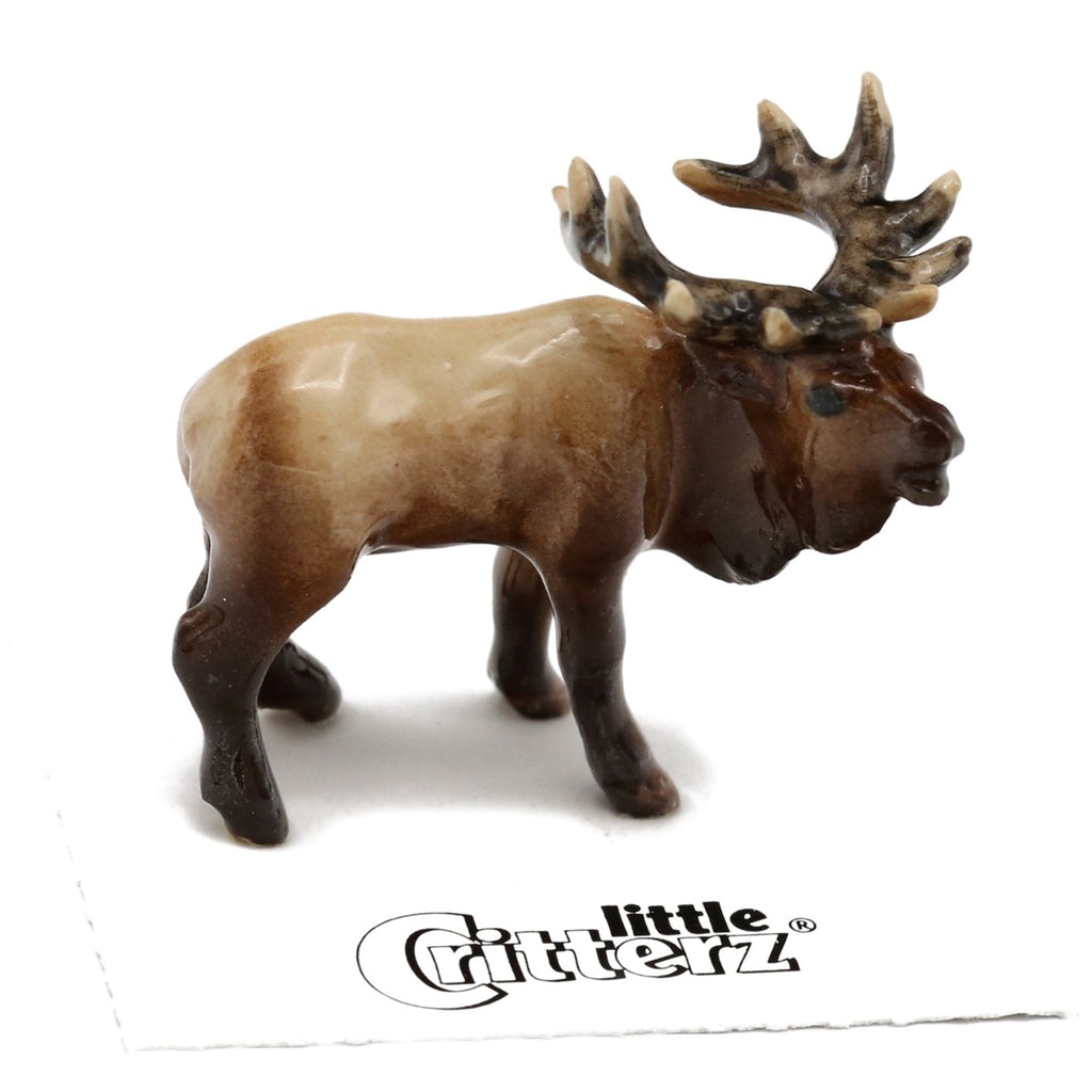 "Elk Figurine - Bugling Elk - ""Wapiti"" - Porcelain Animal FIgurines - Little Critterz, Little Critterz"