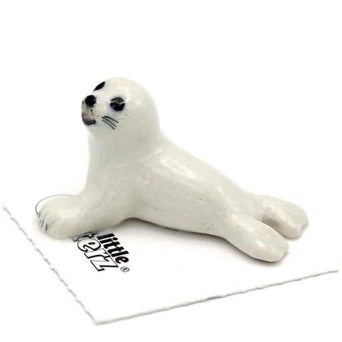 "Seal Figurine - Harp Seal Pup ""Torpedo"" - Porcelain Animal FIgurines - Little Critterz, Little Critterz"