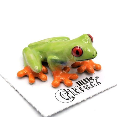 "Frog - Red-Eyed Tree Frog Figurine - ""Clinger"" - Porcelain Animal FIgurines - Little Critterz, Little Critterz"