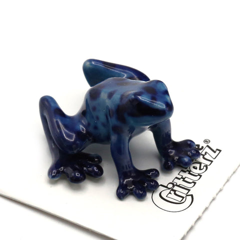 "Frog Figurines - Blue Dart Frog -""Sapphire"" - Porcelain Animal FIgurines - Little Critterz, Little Critterz"