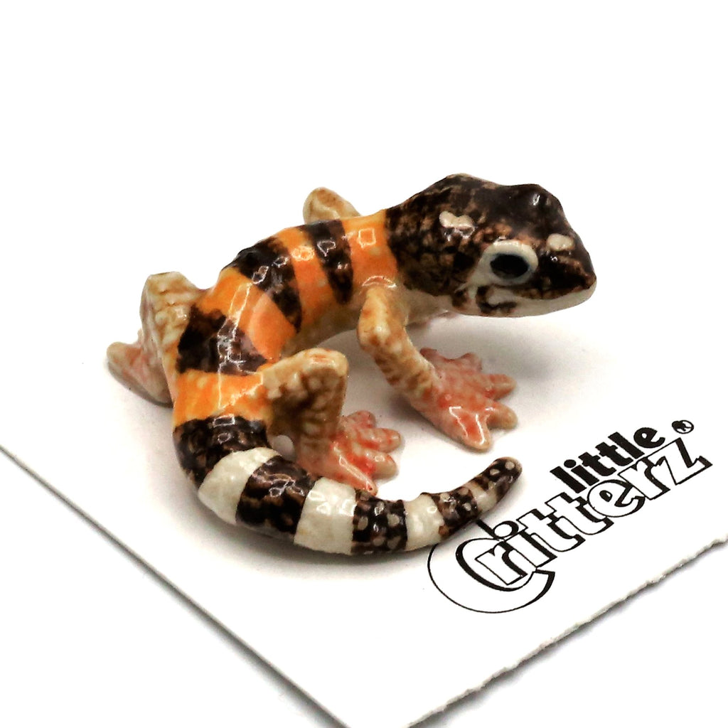 "Leopard Gecko Porcelain Miniature - ""Gladiator"" - Porcelain Animal FIgurines - Little Critterz, Little Critterz"