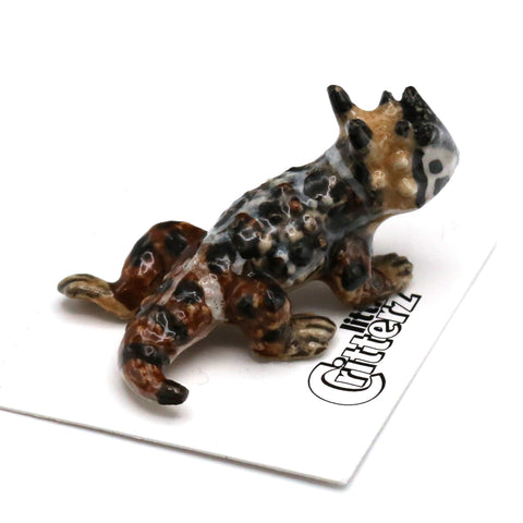 "Horned Toad Miniature - ""Rip"" - Porcelain Animal FIgurines - Little Critterz, Little Critterz"