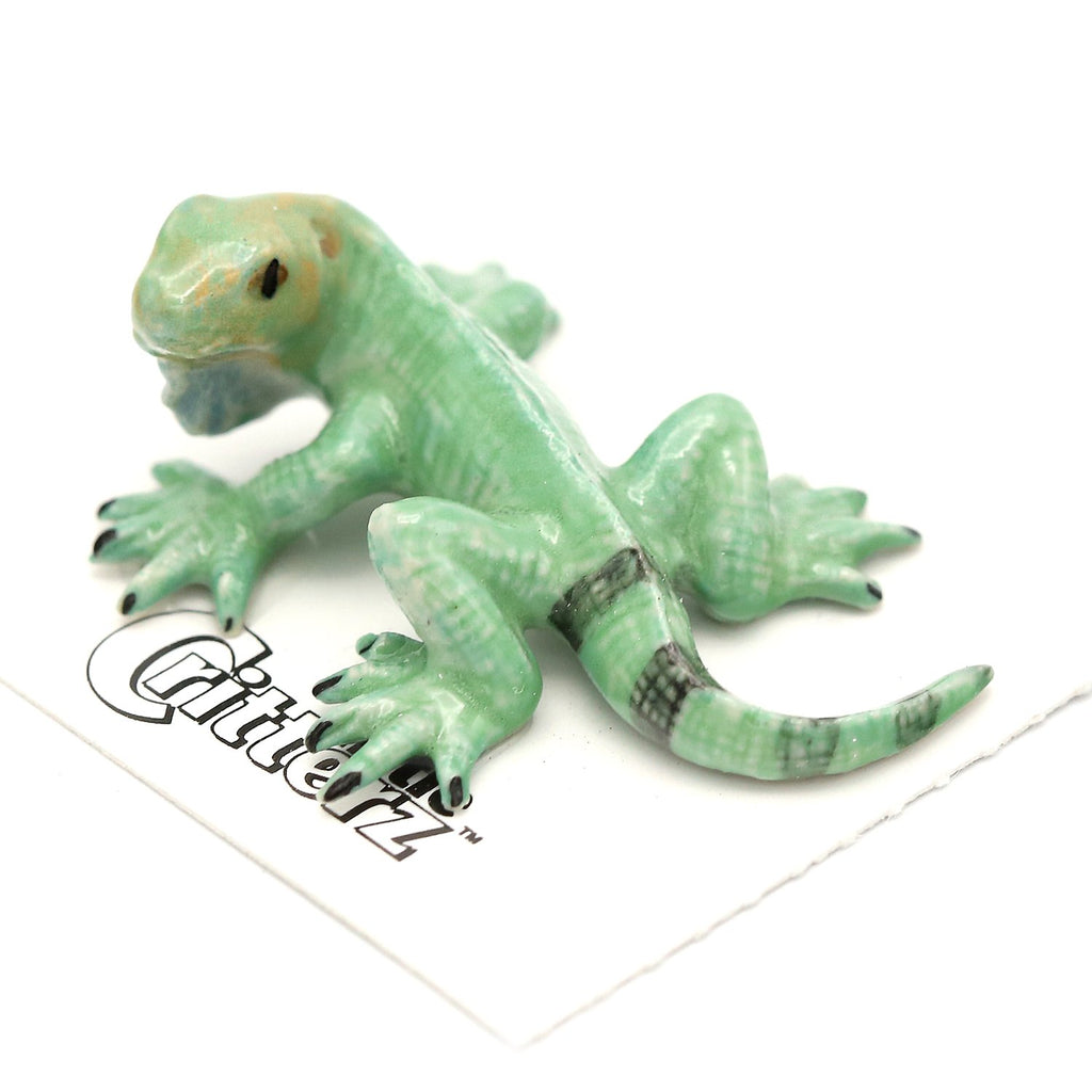 "Green Iguana Figurine - ""Shred"" - Porcelain Animal FIgurines - Little Critterz, Little Critterz"