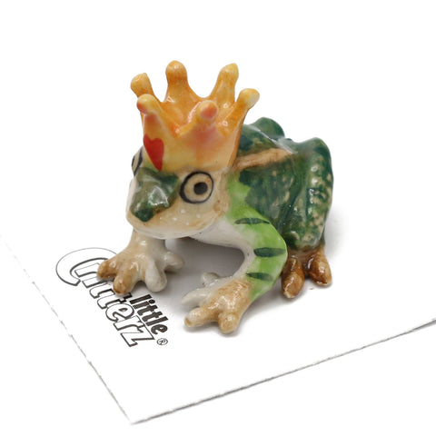 "Frog Prince Figurine - ""Kiss"" - Porcelain Animal FIgurines - Little Critterz, Little Critterz"