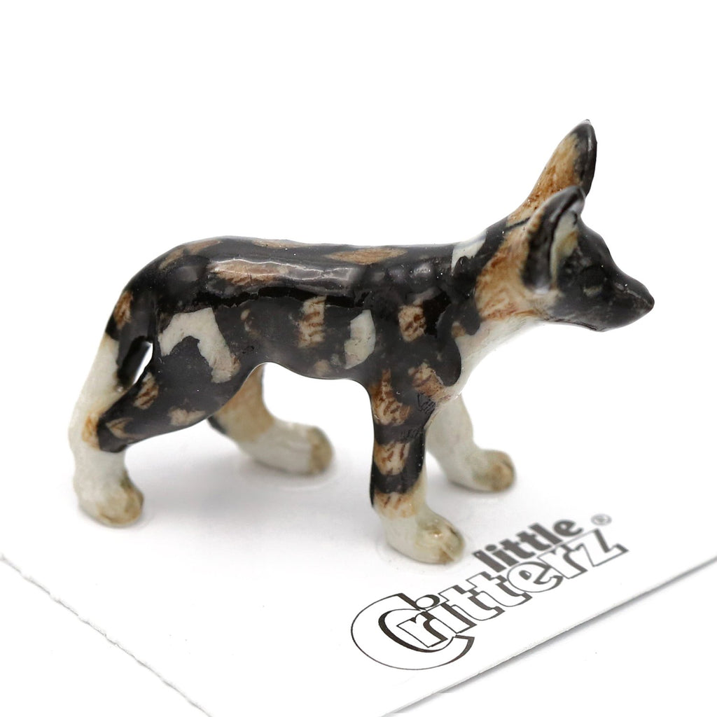 "African Wild Pup Figurine - ""Serengeti"" - Porcelain Animal FIgurines - Little Critterz, Little Critterz"
