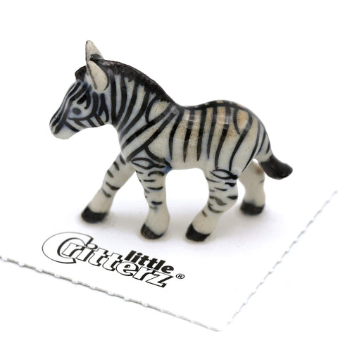 "Zebra Miniature Collectible - ""Zania"" - Porcelain Animal FIgurines - Little Critterz, Little Critterz"