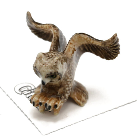 "Owl Figurine - Great Horned Owl ""Bubo"" - Porcelain Animal FIgurines - Little Critterz, Little Critterz"
