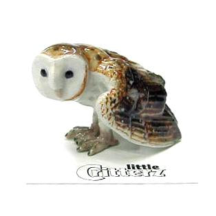 "Owl Figurines - Barn Owl - ""Paleface"" - Porcelain Animal FIgurines - Little Critterz, Little Critterz"
