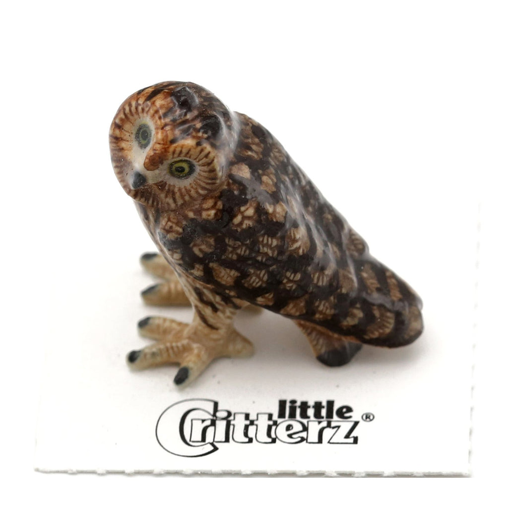 "Owl - Short-eared Owl Miniature - ""Evening"" - Porcelain Animal FIgurines - Little Critterz, Little Critterz"