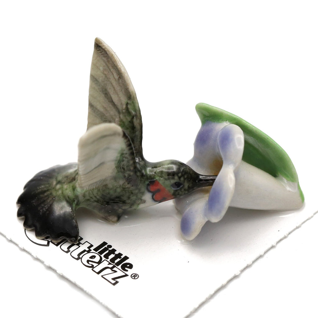 "Hummingbird on Flower Figurine ""Ruby"" - Porcelain Animal FIgurines - Little Critterz, Little Critterz"
