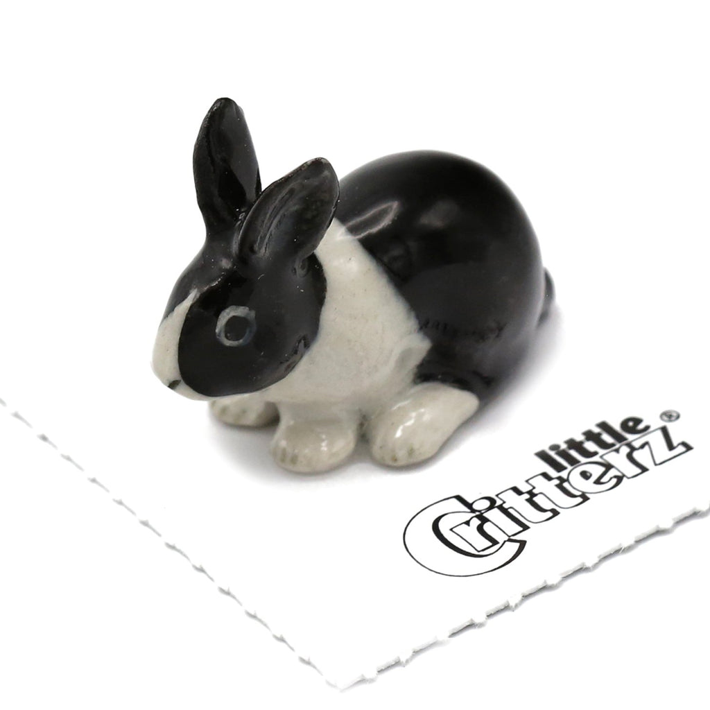 "Rabbit - Bunny Porcelain Figurine - ""Panda"" - Porcelain Animal FIgurines - Little Critterz, Little Critterz"