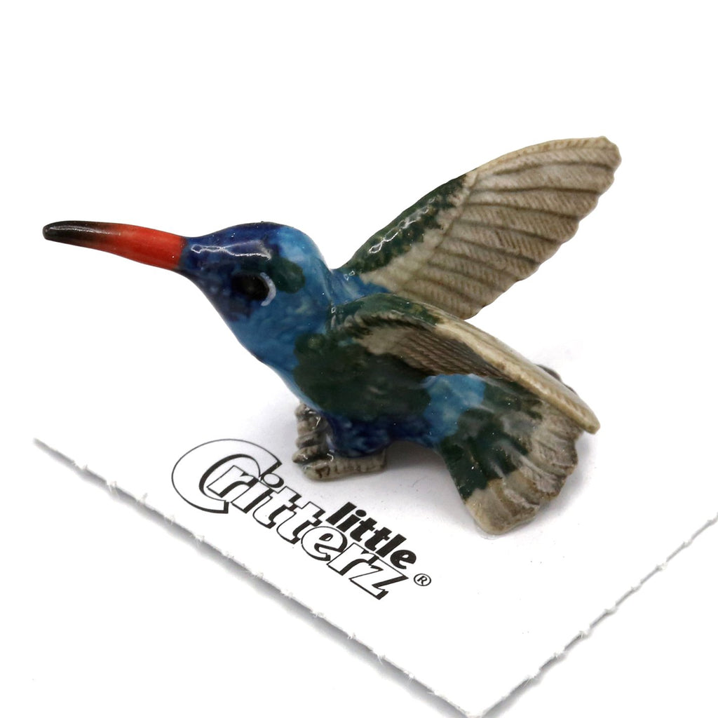 "Hummingbird - Broad-billed Hummingbird  ""Nectar"" - miniature porcelain figurine"