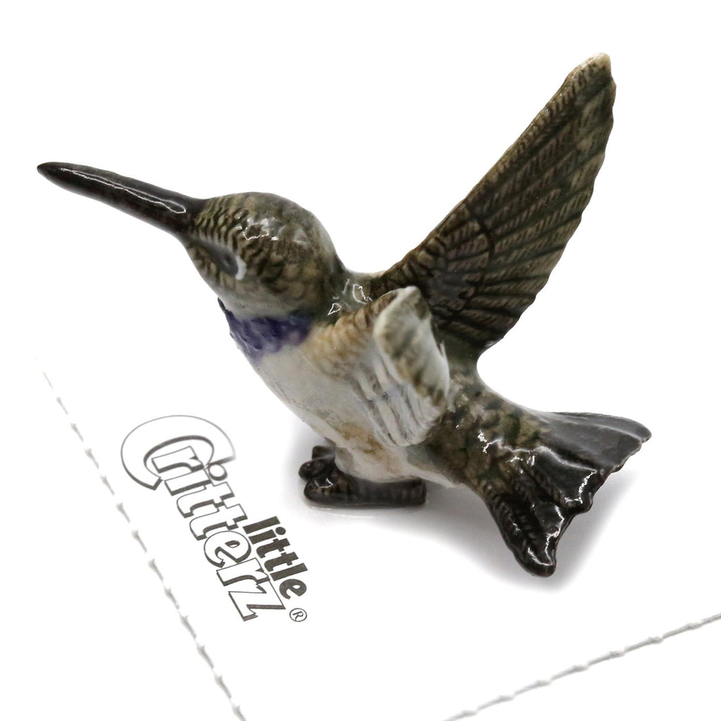 "Hummingbird - Black-chinned Hummingbird  ""Bell"" - miniature porcelain figurine"