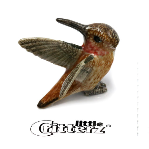 "Hummingbird - Porcelain Rufous Hummingbird - ""Rusty"""