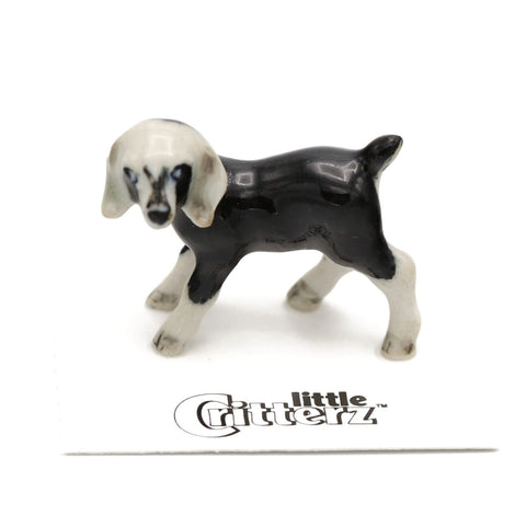"Goat - Nublian Goat Kid - Ceramic Figuine - ""Domino"" - Porcelain Animal FIgurines - Little Critterz, Little Critterz"