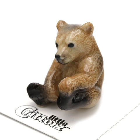 "Bear - Brown Bear Cub Figurine ""Bernie"" - Porcelain Animal FIgurines - Little Critterz, Little Critterz"