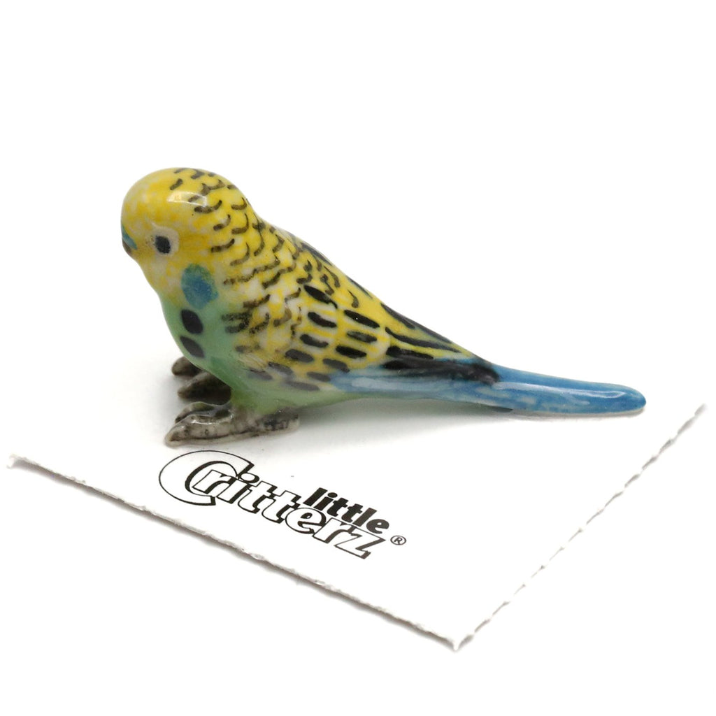 "Parrot  - Green Parakeet Collectible ""Mojito"" - Porcelain Animal FIgurines - Little Critterz, Little Critterz"