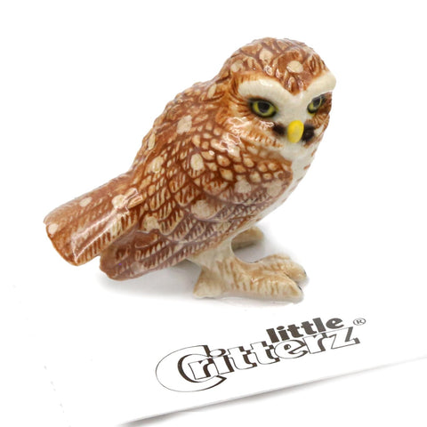 "Owl - Burrowing Owl Figurine - ""Athene"" - Porcelain Animal FIgurines - Little Critterz, Little Critterz"