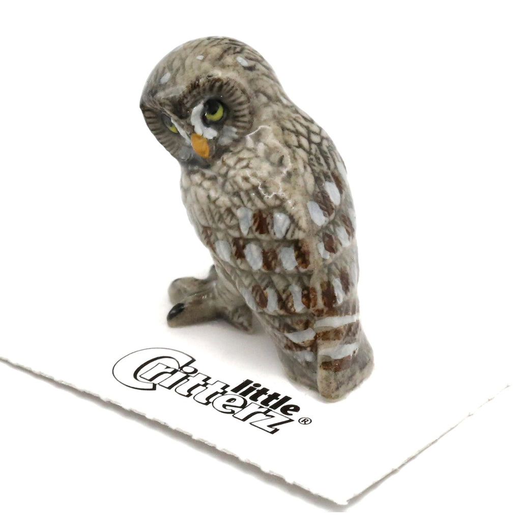 "Owl - Great Gray Owl Figurine ""Phantom"" - Porcelain Animal FIgurines - Little Critterz, Little Critterz"