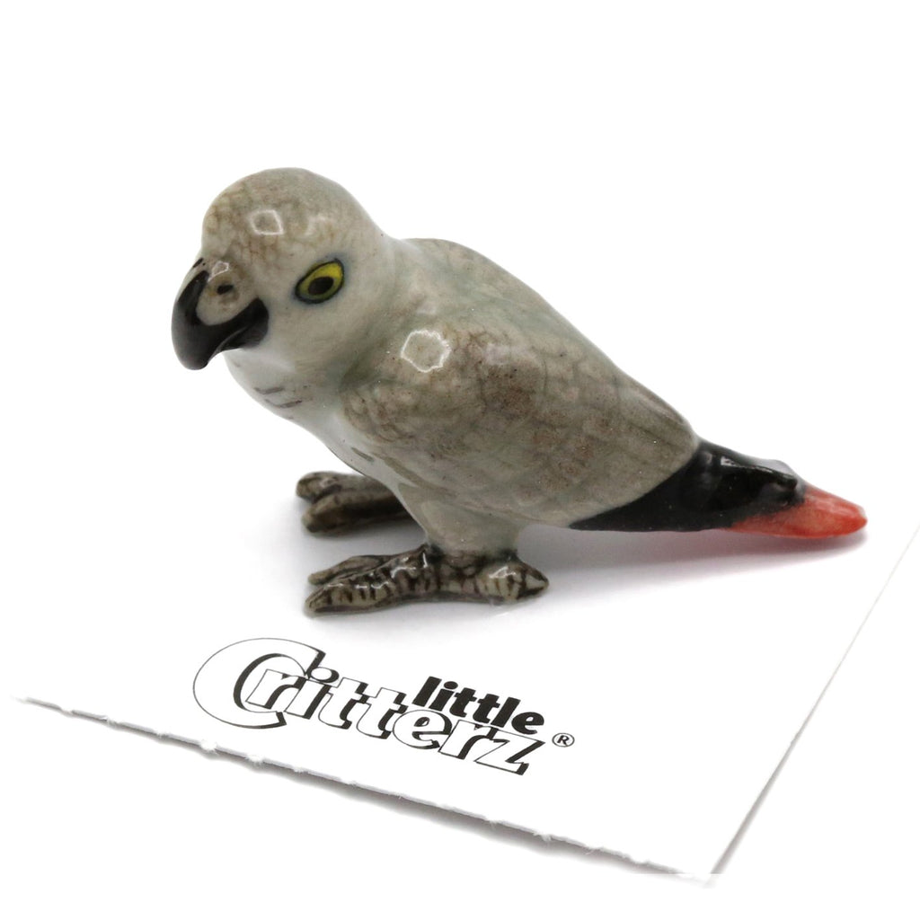 "Parrot - Ceramic Figurine African Gray Parrot - ""Congo"" - Porcelain Animal FIgurines - Little Critterz, Little Critterz"