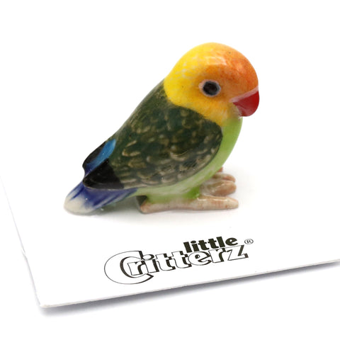 "Lovebird Porcelain Miniature - ""Namibia"" - Porcelain Animal FIgurines - Little Critterz, Little Critterz"