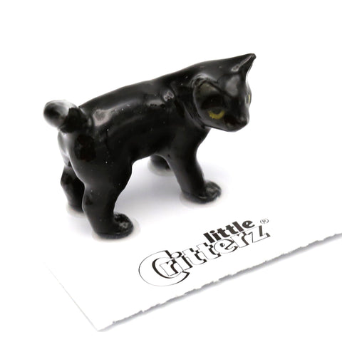 "Cat  - Black Kitten ""Onyx"" - miniature porcelain figurine"