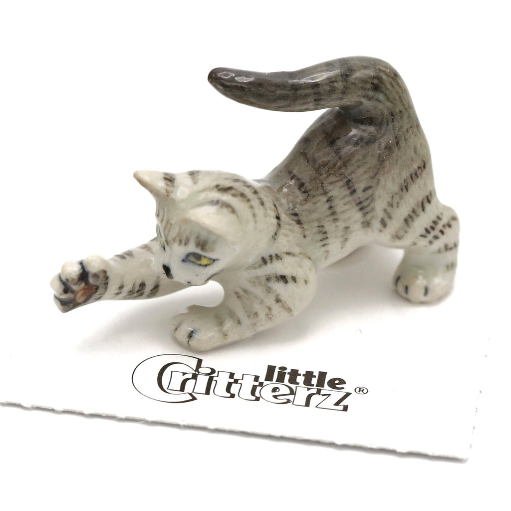 "Cat - Grey Tabby Kitten""Lily"" - miniature porcelain figurine"