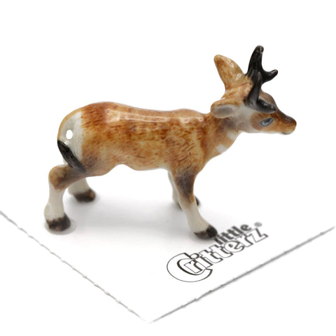 "Antelope - Pronghorn Porcelain Hand Made Figurine - ""Flash"" - Porcelain Animal FIgurines - Little Critterz, Little Critterz"
