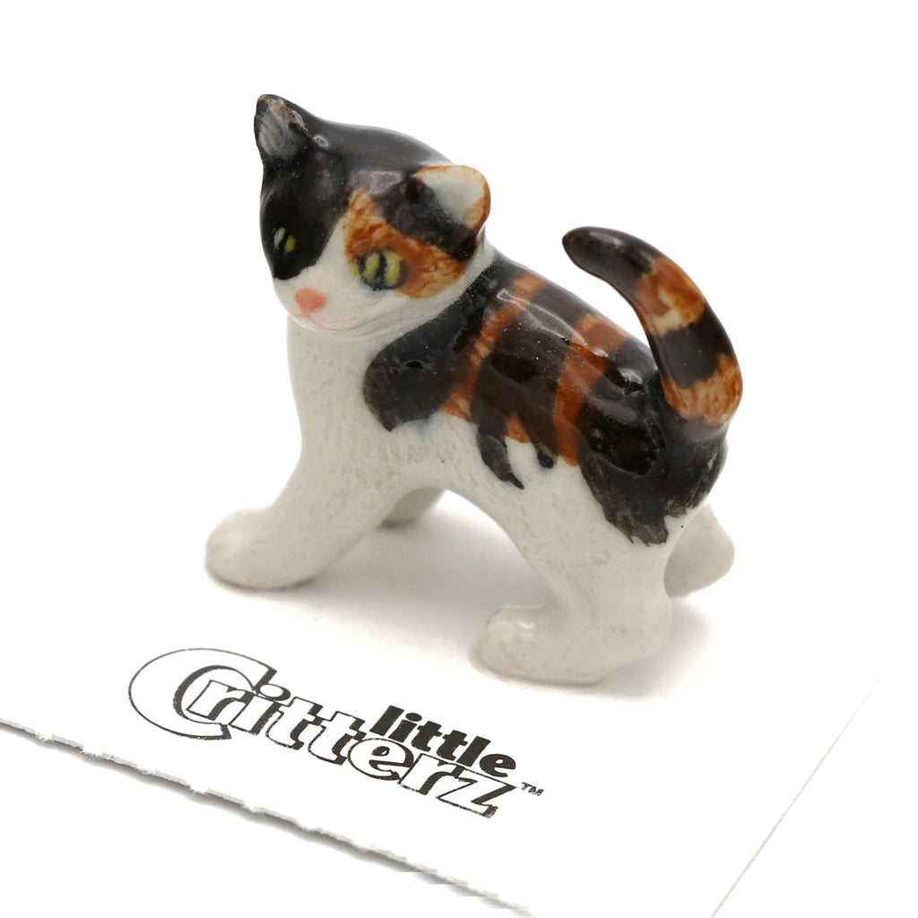 "Cat - Calico Kitten Figurine - ""Holly"" - Porcelain Animal FIgurines - Little Critterz, Little Critterz"
