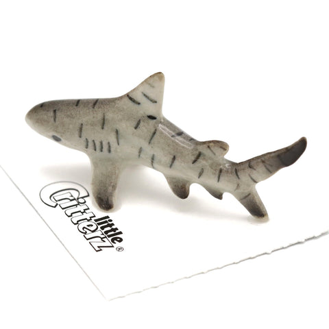 "Shark - Porcelain Tiger Shark Figurine ""Galeos"" - Porcelain Animal FIgurines - Little Critterz, Little Critterz"