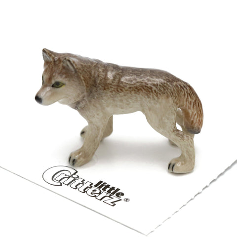 "Wolf Porcelain Miniature ""Timber"" - Porcelain Animal FIgurines - Little Critterz, Little Critterz"