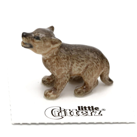 "Wolf Figurine - Wolf Cub Howling -""Yelp"" - Porcelain Animal FIgurines - Little Critterz, Little Critterz"