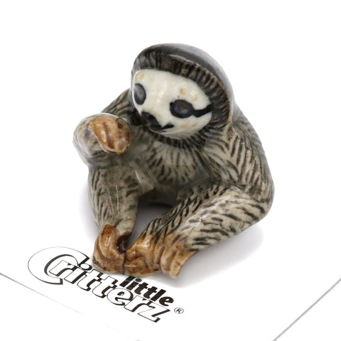 "Sloth figurine - Three-toed Sloth - ""Buttercup"" - Porcelain Animal FIgurines - Little Critterz, Little Critterz"